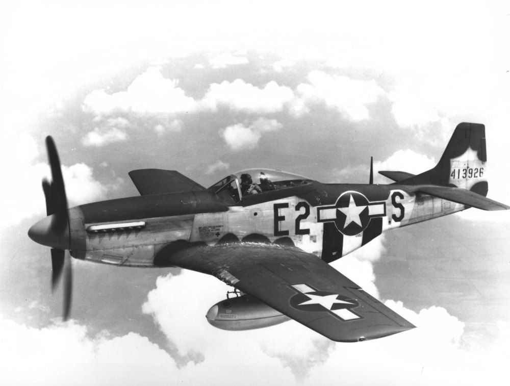 War Theatre #12 - France - Airplanes North American P-51 Mustang figher plane over France. Mustangs served in nearly every combat zone. P-51s had destroyed 4,950 enemy aircraft in the air, more than any other fighter in Europe. Also used for photo recon and ground support use due to its limited high-altitude performance.
