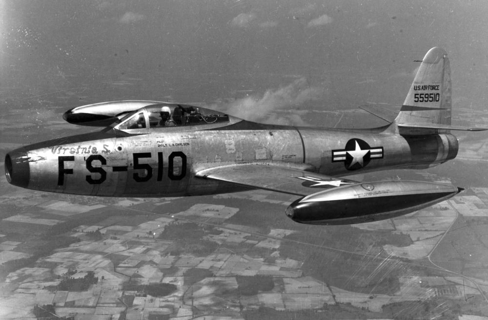 Republic F-84B in flight. (U.S. Air Force photo)